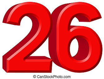 Numeral 26, twenty six, isolated on white background, 3d render