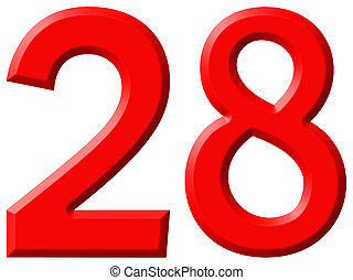 Numeral 28, twenty eight, isolated on white background, 3d render