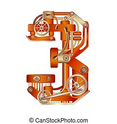 Numeral 3 of mechanic alphabet. Steampunk font.