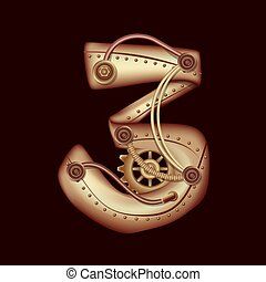 Numeral 3 of mechanic alphabet. Steampunk style.