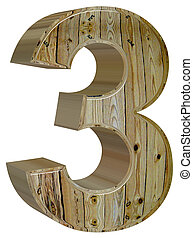 Numeral 3, three, isolated on white background, 3d render