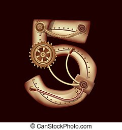 Numeral 5 of mechanic alphabet. Steampunk style.