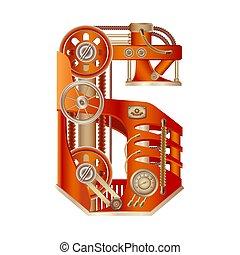 Numeral 6 of mechanic alphabet. Steampunk font.