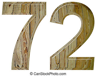 Numeral 72, seventy two, isolated on white background, 3d...
