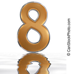 Numeral 8, eight, reflected on the water surface, isolated on white, 3d render
