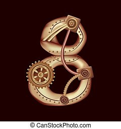 Numeral 8 of mechanic alphabet. Steampunk style.