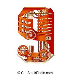Numeral 9 of mechanic alphabet. Steampunk font.