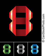 Numeral of paper tape - 8 - Origami font from coloured set...