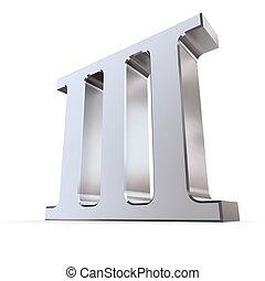 numeral, romana, 3, metálico