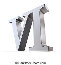 numeral, romana, metálico, 6