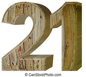 numerale, 21, venti, isolato, bianco, fondo, 3d, render