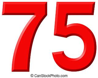 numerale, 75, settanta, cinque, isolato, bianco, fondo, 3d,...