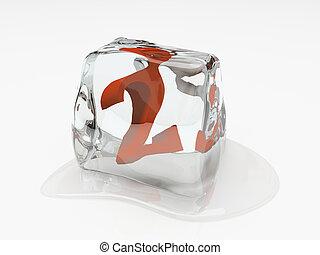 numerale, due, in, cubo ghiaccio, 3d, interpretazione