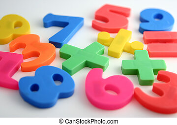 Numerals - Isolated childrens magnetic numbers.