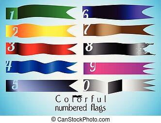 numerato, bandiera, set, dieci, colorito