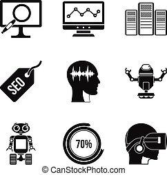 Numerator icons set, simple style - Numerator icons set....