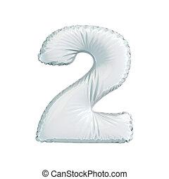 numere 2, dois, de, branca, balões, ligado, um, branca, experiência.