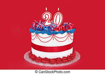 numere 20, celebração, bolo