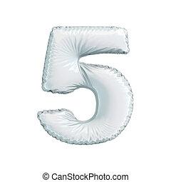 numere 5, cinco, de, branca, balões, ligado, um, branca, experiência.