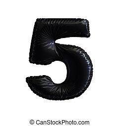 numere 5, cinco, de, pretas, balões, ligado, um, branca, experiência.