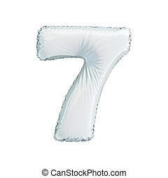 numere 7, sete, de, branca, balões, ligado, um, branca, experiência.