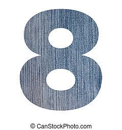 numere 8, de, calças brim, tecido, branca