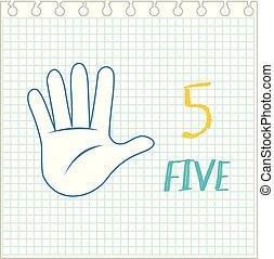 numere cinco, gesto mano, nota