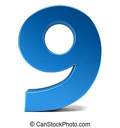 numere nove, em, branca, experiência., 3d, fazendo, ilustração