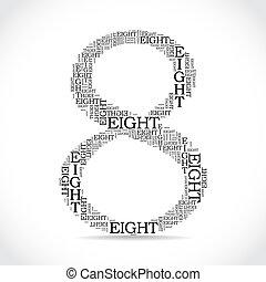 numere ocho, creado, de, texto, -, ilustración
