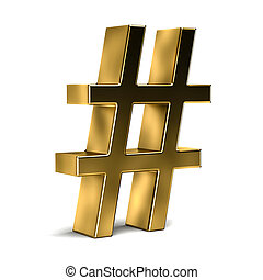 numere símbolo, hashtag., 3d, render, iillustration, isolado, em, fundo branco