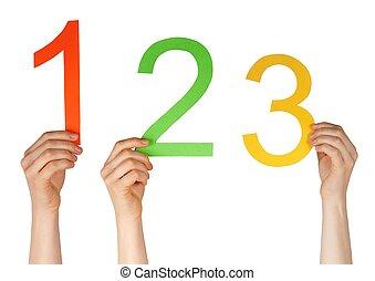 numere um, dois, três