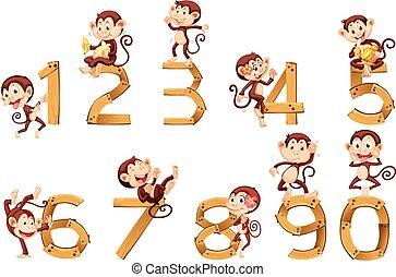 numere uno, monos, diez