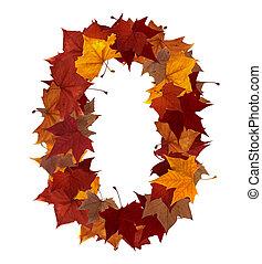 numere zero, multicolored, folha baixa, composição, isolado