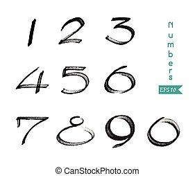 numeri, 0-9, scritto, con, uno, spazzola, su, uno, sfondo bianco