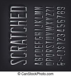 numeri, alfabeto, lettere, shadow., smussato, metallico, font., graffiato