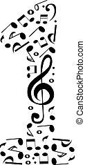 numeri, astratto, -, numero, musica, set, vettore, fatto, note