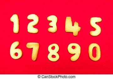 numeri, biscotti, forma, appetitoso