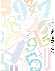 numeri, colorato, pastell