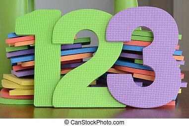 numeri, colorito, schiuma, 2, giocattoli, 3, numero 1, fila, appartamento