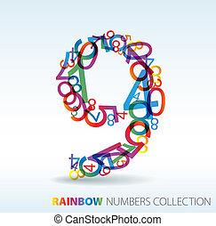 numeri, fatto, colorito, nove, numero