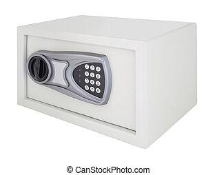 Numeric code steel safe box on white background.