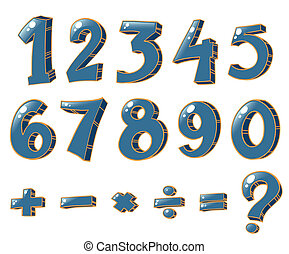 Illustration of the numeric figures and mathematical operations on a white background