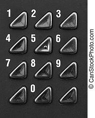 Numeric keypad - Close up of numeric keypad in black and...