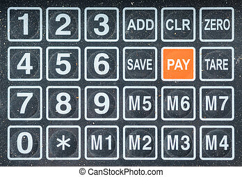 Numeric keys on digital scale, retail shop and grocery