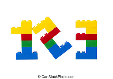 numeric legos - Colorful Legos assembled into numbers