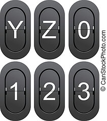 Numeric series 0 to 1 from mechanical scoreboard