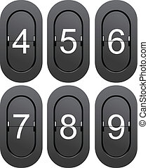 Numeric series 4 to 9 from mechanical scoreboard. Vector...