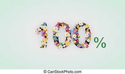 """""""Numerical digit floral animation, 100 percent."""""""