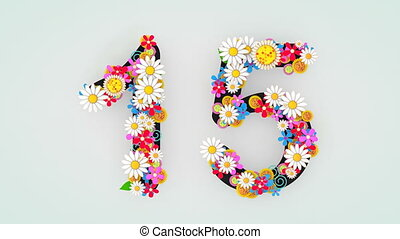 """Numerical digit floral animation, 15."""