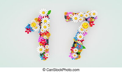 """""""Numerical digit floral animation, 17."""""""